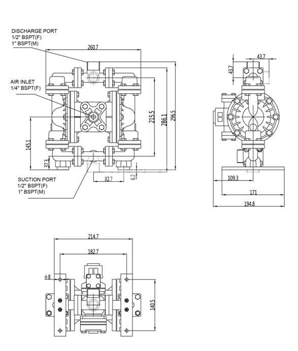 LS15铝合金泵外形尺寸
