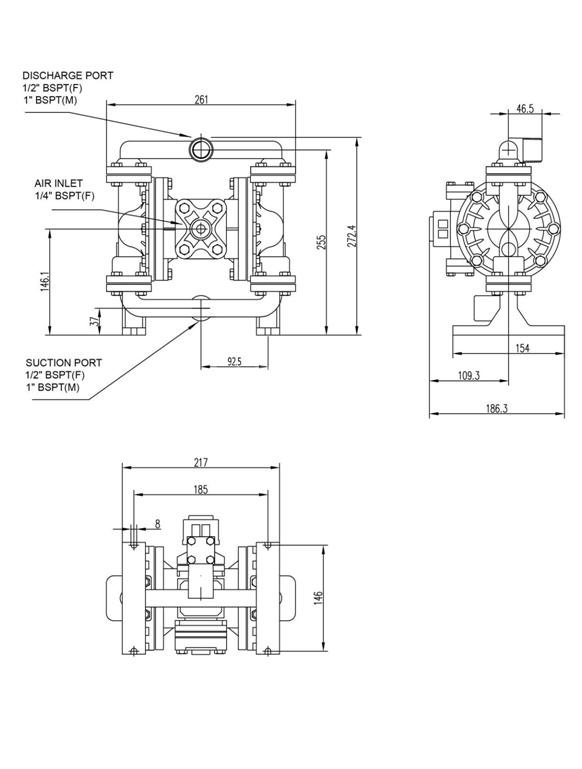 SKYLINK LS15不锈钢泵外形尺寸