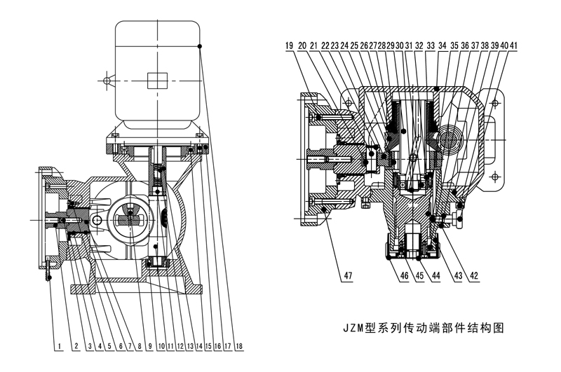 JZM机械隔膜计量泵部件结构图